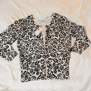 NWT Black & White Cardigan Sweater by Grace sz Med
